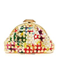 Judith Leiber Metallic Ava Tropicalprint Clutch Bag