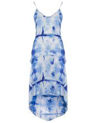 TOPSHOP Blue Tie Dye Dip Hem Dress