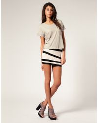 ASOS Collection | White Asos Contrast Panel Mini Skirt | Lyst