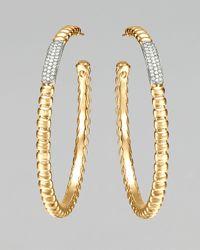 John Hardy - Metallic Gold Bedeg Pave Diamond Large Hoop Earrings - Lyst