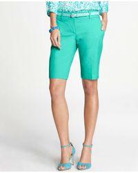 Ann Taylor | Green Cotton Walking Shorts | Lyst