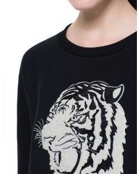 Zara | Black Sweatshirt Top with Animal Embroidery | Lyst