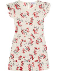 RED Valentino | Natural Floral-print Cotton Top | Lyst