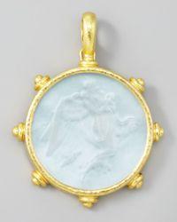 Elizabeth Locke - Blue Angel Glass Intaglio 19k Gold Pendant - Lyst