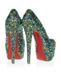 Christian Louboutin - Blue Daffodile 160 Crystalembellished Leather Pumps - Lyst