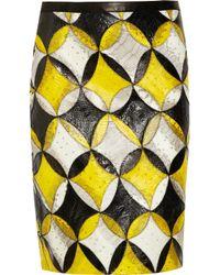 Derek Lam | Black Patchwork Snakeskin Skirt | Lyst