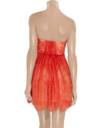 Tibi | Red Strapless Lace and Silk Dress | Lyst