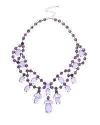 ASOS - Purple Premium Jewelled Bib Necklace - Lyst