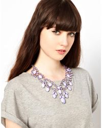 ASOS | Purple Premium Jewelled Bib Necklace | Lyst