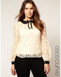ASOS Collection | Natural Asos Curve Lace Top with Binding | Lyst