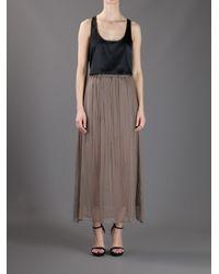 Brunello Cucinelli | Brown Pleated Semi Sheer Skirt | Lyst