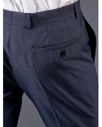 Versace | Blue Nailhead Suit for Men | Lyst