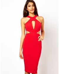 ASOS | Red Midi Dress with Cut Out Side | Lyst