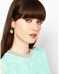ASOS - Yellow Gem Stud Earrings - Lyst