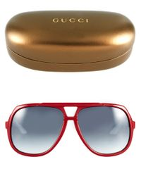 Gucci | Gray Red and White Square Aviator Sunglasses | Lyst