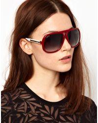 Gucci - Gray Red and White Square Aviator Sunglasses - Lyst