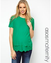 ASOS | Green Top with Double Scallop | Lyst