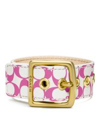COACH - White Signature C Leather Buckle Bracelet - Lyst
