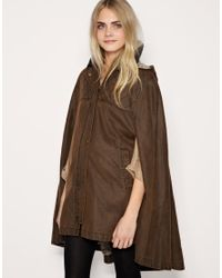 ASOS Collection | Brown Asos Waxed Cotton Cape | Lyst