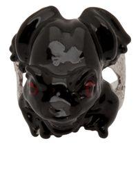 Delfina Delettrez | Black Enameled Frog Ring | Lyst