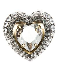Lanvin | Metallic Embellished Heart Brooch | Lyst