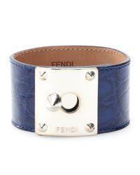 Fendi | Blue Crocodile Leather Cuff with Studded Logo Closure | Lyst