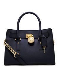 MICHAEL Michael Kors | Blue Hamilton East West Leather Satchel Bag | Lyst