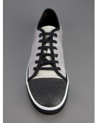 Lanvin | Gray Leather Trainer for Men | Lyst