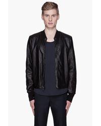 3.1 Phillip Lim | Black Leather Mesh Harrington Jacket for Men | Lyst