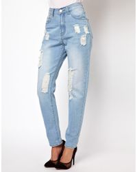 Glamorous | Blue Boyfriend Jeans in Light Wash Distressed Denim | Lyst