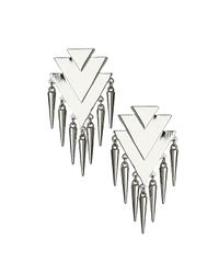 TOPSHOP | Metallic Overlay Triangle Spike Earrings | Lyst
