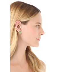 Tory Burch | Green Deco Logo Stud Earrings | Lyst