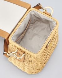 Tory Burch - Brown Lacquered Rattan Basket Bag  - Lyst