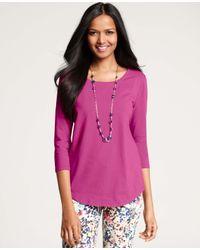 Ann Taylor - Pink Stretch Cotton Shirttail Hem Tee - Lyst