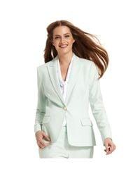 Calvin Klein | Green Single Button Peaked Lapel Blazer | Lyst