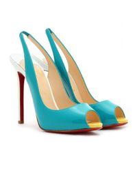 Christian Louboutin   Blue Patent Leather Peep Toe Pumps   Lyst