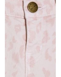 Current/Elliott - Pink The Stiletto Leopard-print Low-rise Skinny Jeans - Lyst