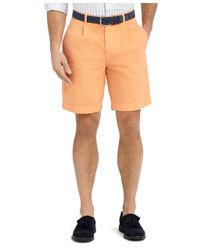 Brooks Brothers | Orange Garment-dyed Pleat-front Twill Shorts for Men | Lyst