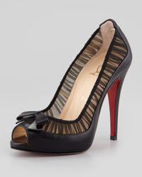 Christian Louboutin | Black Angelique Leatherchiffon Peeptoe Red Sole Pump | Lyst