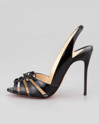 Christian Louboutin   Black Corsetica Patent Leatherpvc Slingback Red Sole Sandal   Lyst