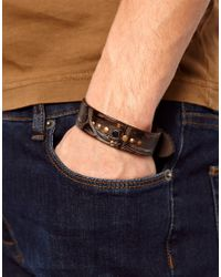 DIESEL | Brown Amsci Leather Bracelet for Men | Lyst