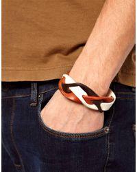 DIESEL - Brown Abraid Leather Bracelet for Men - Lyst