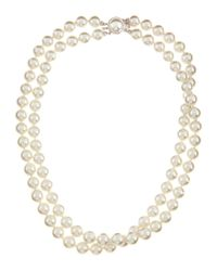 Majorica - White Two-Strand Pearl Necklace - Lyst