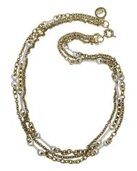 Giles & Brother - Metallic Archer Goldtone and Silver Multichain Necklace - Lyst