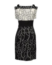 I'm Isola Marras - Black Floral Printed Viscose Cady Ruffle Dress - Lyst