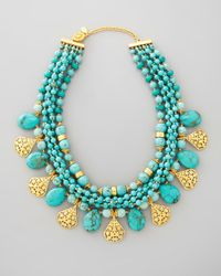Jose & Maria Barrera | Blue Multistrand Turquoise Gold Plate Necklace | Lyst