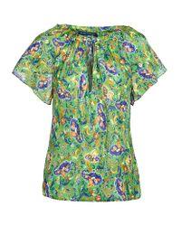 Ralph Lauren Blue Label - Green Silk Chiffon Paisley Sayle Top - Lyst