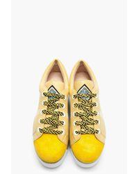 KENZO | Yellow Leather Sneeky Espadrille Platform Sneakers | Lyst