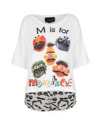 TOPSHOP - White Sesame Street Moustache PJ Set - Lyst