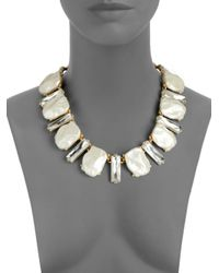 Kenneth Jay Lane - Metallic Crystal Faux Pearl Necklace - Lyst